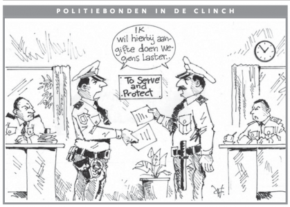 AD cartoon| Politiebonden in de clinch