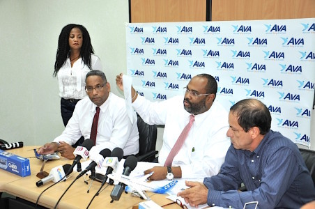 """Representatives of New St. Maarten Airline sign Company Article of Incorporation at Notary office (""""Ava SXM B.V."""" is born)"""