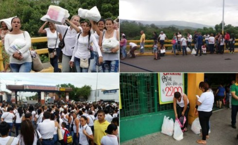 Santos and Holguin visited Cucuta a day after roughly 500 Venezuelan women crossed the closed border to buy food