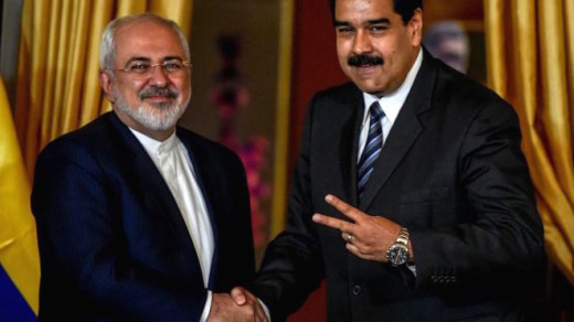 Venezuela's President Nicolas Maduro and Iranian Foreign Minister Mohammad Javad Zarif in Caracas on August 27, 2016. (JUAN BARRETO/AFP/Getty Images)