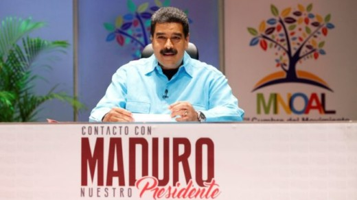 President Maduro, seen here on his TV programme, welcomed delegates more than 100 countries while his region's trading bloc threatened to suspend Venezuela  | Reuters
