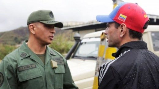 Mr Capriles (right) has said the time was coming for the army to take a position